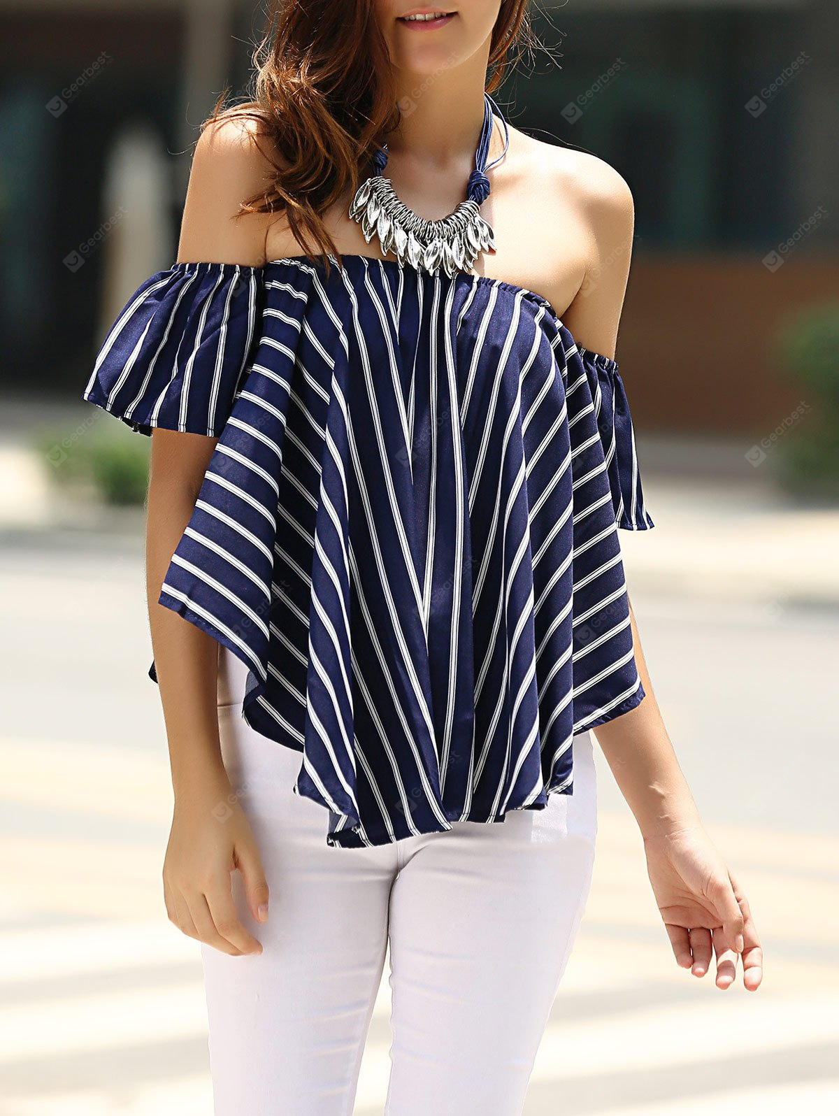 Sweet-a-ombro Off Striped T-shirt para as Mulheres