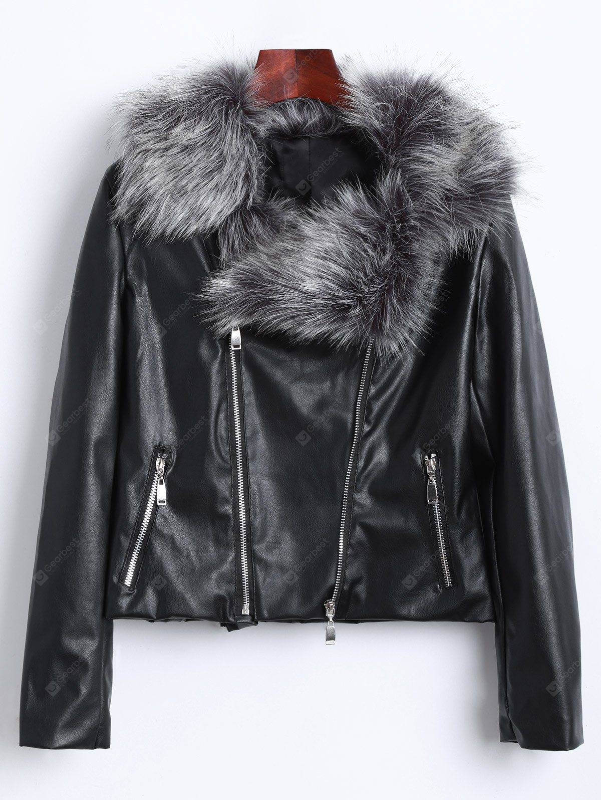 Zippers Faux Leather Biker Jacket with Fur Collar
