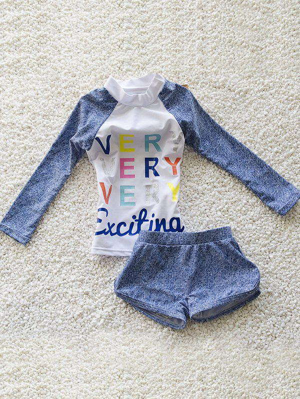 Stylish Girl's Letter Print Long Sleeve T-Shirt + Boxers Two-Piece Swimsuit