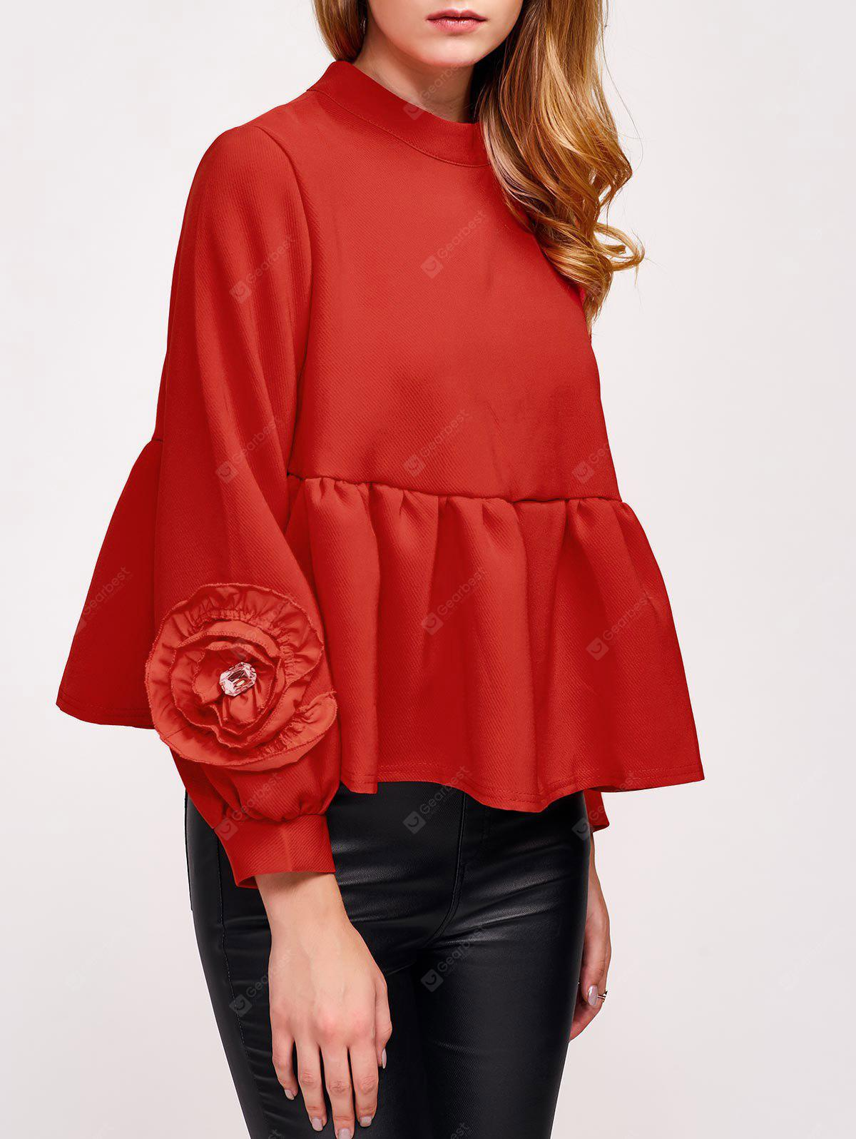 Flower Embellished Puff Sleeve Blouse