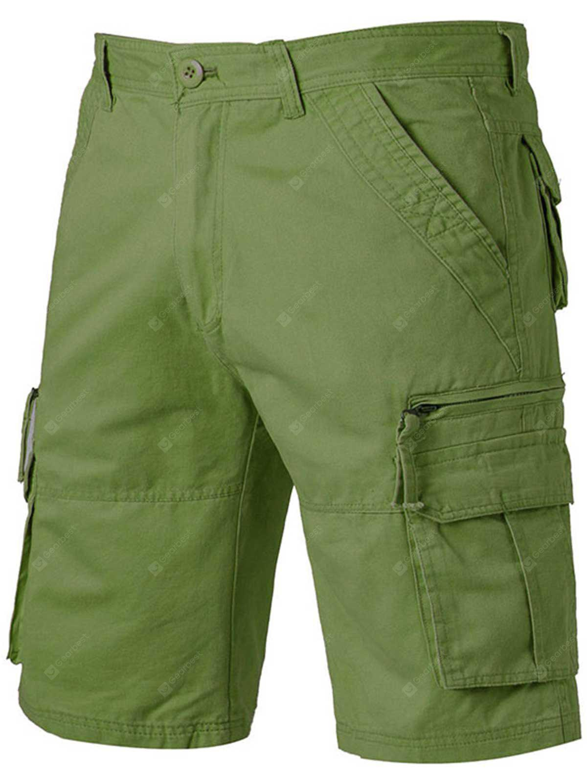 Straight Bein Applique Zip Up Taschen Cargo Shorts