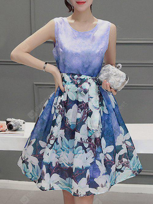 Sweet Scoop Neck Sleeveless Floral Print Pleated Dress For Women