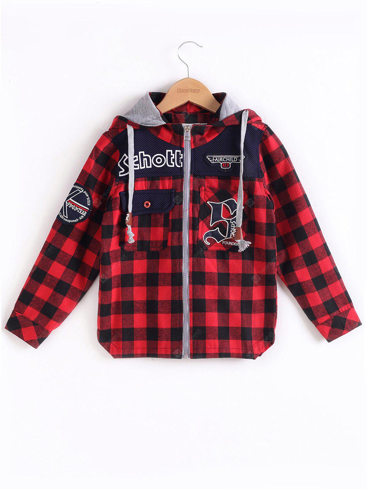 Hooded Plaid Label Spliced Coat