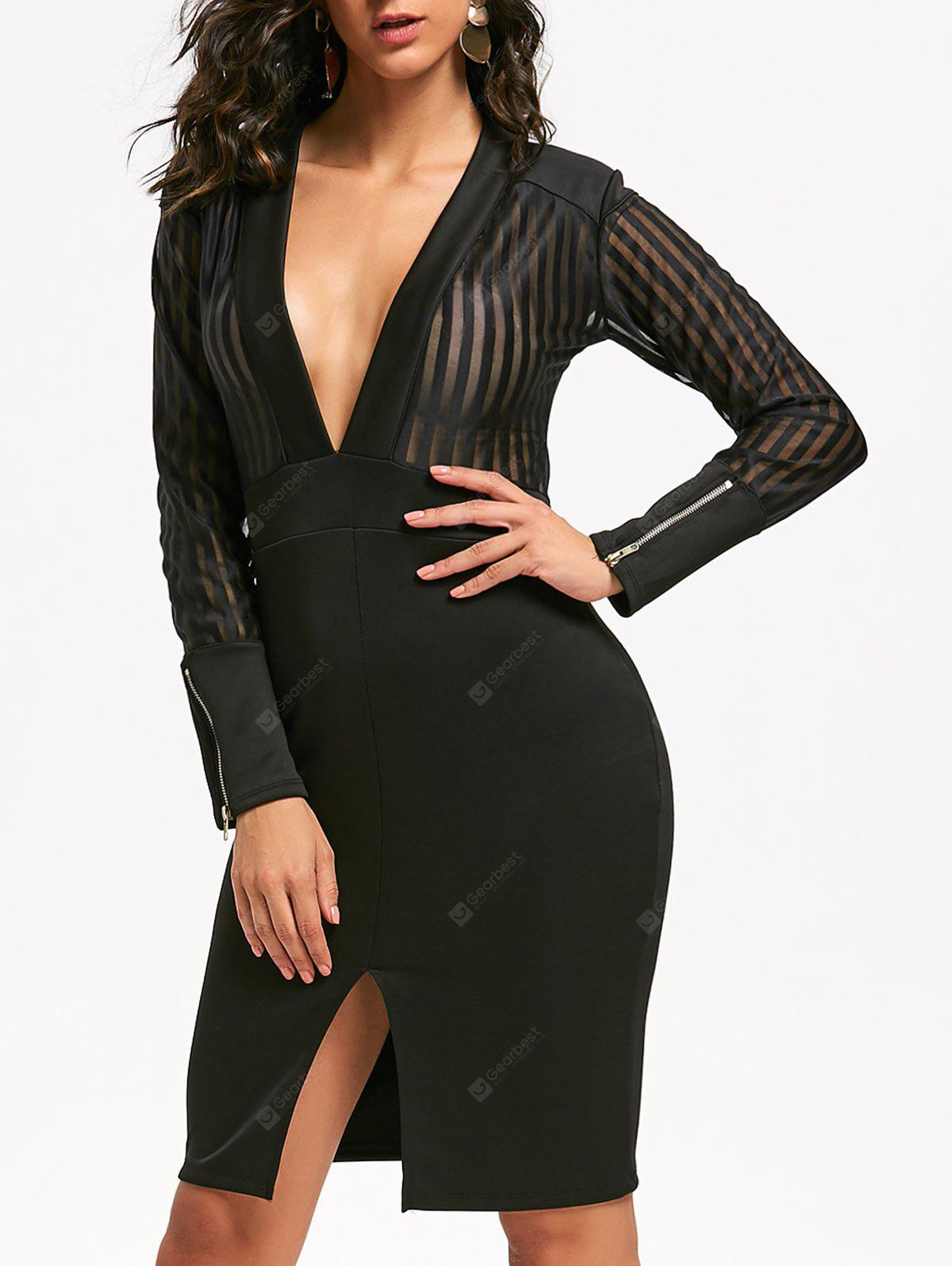 Sheer Plunging Neck Slit Bodycon Dress