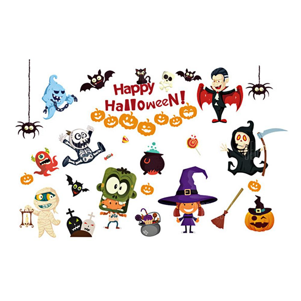 Home Decor Cartoon Halloween Wall Removable Stickers COLORFUL