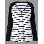 Plus Size Striped Raglan Sleeve Jersey T-shirt - BLACK STRIPE