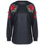 Floral Embroidery Sweatshirt - BLACK
