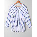 High Low Drop Shoulder Striped Blouse - BLUE STRIPE