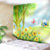 Butterfly Landscape Print Wall Tapestry - YELLOW GREEN