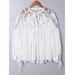 Lace Panel Floral Embroidered Oversize Blouse - WHITE
