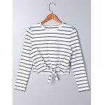 Long Sleeve Front Knot Striped T-shirt - STRIPE