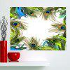 Peacock Feathers Printed Multifunction Waterproof Wall Art Painting - GREEN