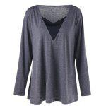 Plus Size Long Sleeve V Neck Tunic T-shirt - GRAY
