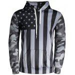 Camo American Flag Print Hoodie - BLACK AND GREY