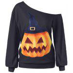 Halloween Plus Size Pumpkin Print Skew Neck Pullover Sweatshirt - BLACK