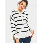 High Low Stripes Hooded Sweater - WHITE
