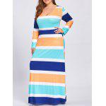 Plus Size Maxi Long Sleeve Stripe Dress - STRIPE
