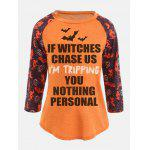Raglan Sleeve Personalized Sentence Print Halloween T-shirt - ORANGE
