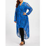 Plus Size High Low Lace Maxi Shirt - BLUE