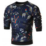 Birds and Floral Printed Crewneck Sweatshirt - COLORMIX