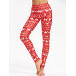 Christmas Elk Snowflake Print Skinny Leggings - RED