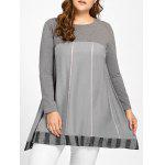 Plus Size Striped Trapeze T-shirt - GRAY