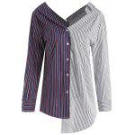 Contrast Striped Asymmetrical Plus Size Blouse - COLORMIX