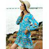 Buy Casual Long Sleeve Tiny Floral Low Cut Women's Boho Dress XL TURQUOISE
