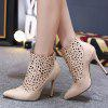 Hollow Out Pointed Toe Stiletto Heel Ankle Boots - APRICOT