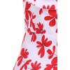 Patterned Midi Vintage Dress - RED AND WHITE