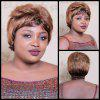 Short Fluffy Side Bang Double Color Straight Synthetic Wig - COLORMIX
