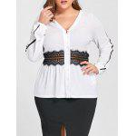 Plus Size Lace Insert V Neck Blouse - WHITE
