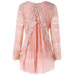 Plus Size High Low Pleated Lace Mini Dress - PINK