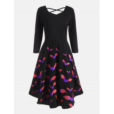 Cross Back Bat Print Fit and Flare Dress