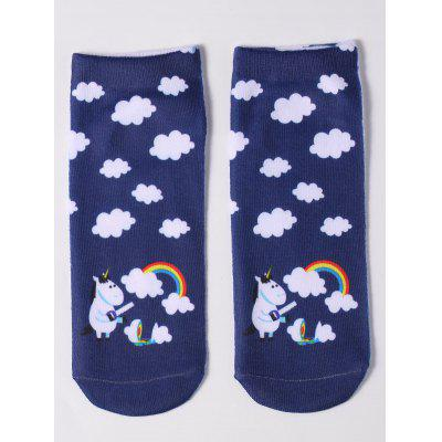 Ankle Socks with Cartoon Unicorn Pattern