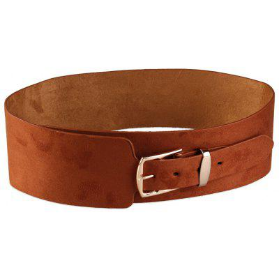 Retro Metal Buckle Embellished Wide Waist Belt