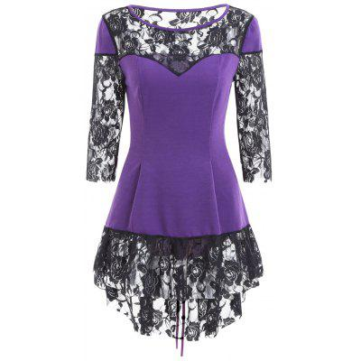 Lace Insert Lace Up High Low Blouse