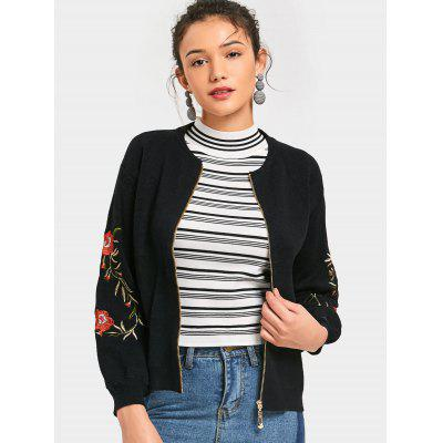 Zip Up Floral Embroidered Cardigan