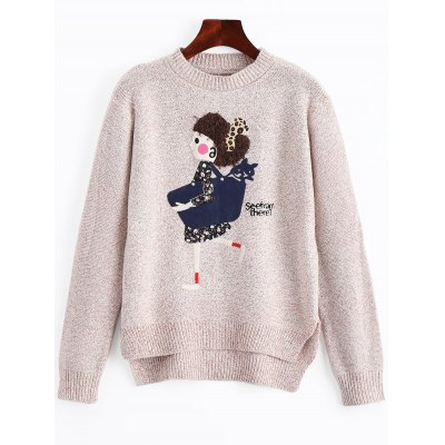 Cartoon Patched High Low Heathered Sweater