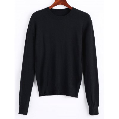 Frayed Long Sleeve Poullover Sweater