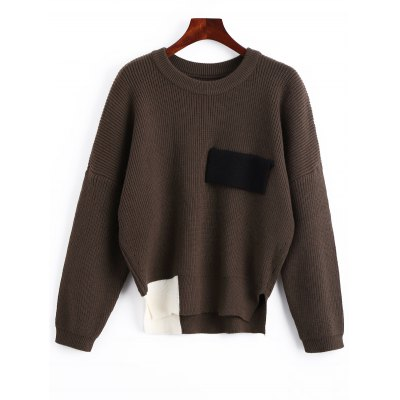 Side Slit Color Block Oversized Sweater