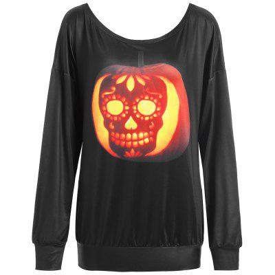 Plus Size Halloween Skull Pumpkin Print T-shirt