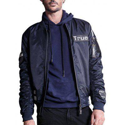 Velcro Patch Zip Up Bomber Jacket