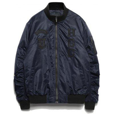 Patch Design Zip Up Pleated Bomber Jacket