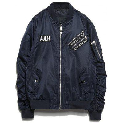 Patch Bomber Jacket with Zip Detail