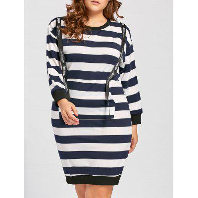 Buy STRIPE 5XL Plus Size Striped Front Pocket Sweatshirt Dress for $30.72 in GearBest store
