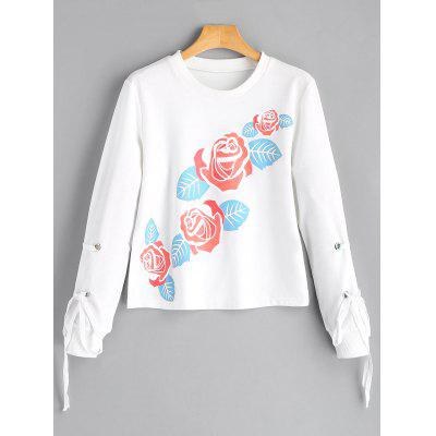 Crew Neck Flower Print Sweatshirt