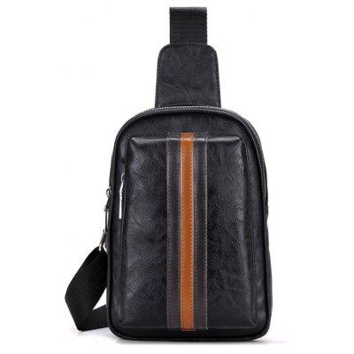 Color Block PU Leather Chest Bag