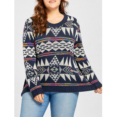 Buy PURPLISH BLUE Plus Size Geometric Jacquard Sweater for $32.44 in GearBest store