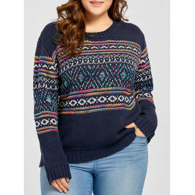 Buy PURPLISH BLUE Plus Size Drop Shoulder Geometric Jacquard Sweater for $30.93 in GearBest store